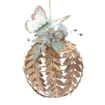 White & Gold Glittered Butterfly Bauble - 8cm diameter x 13cm tall