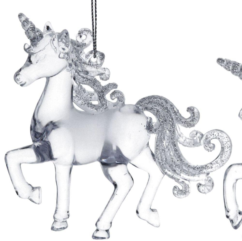 Clear Acrylic Prancing Unicorn - 9.5cm tall x 10cm long