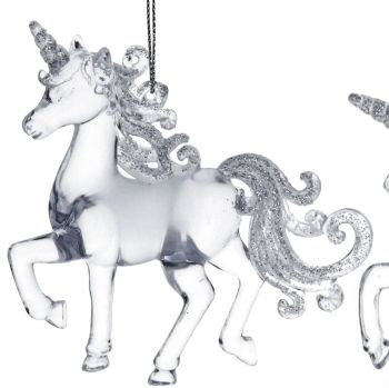 Clear Acrylic Prancing Unicorn - 9.5cm tall x 10cm long
