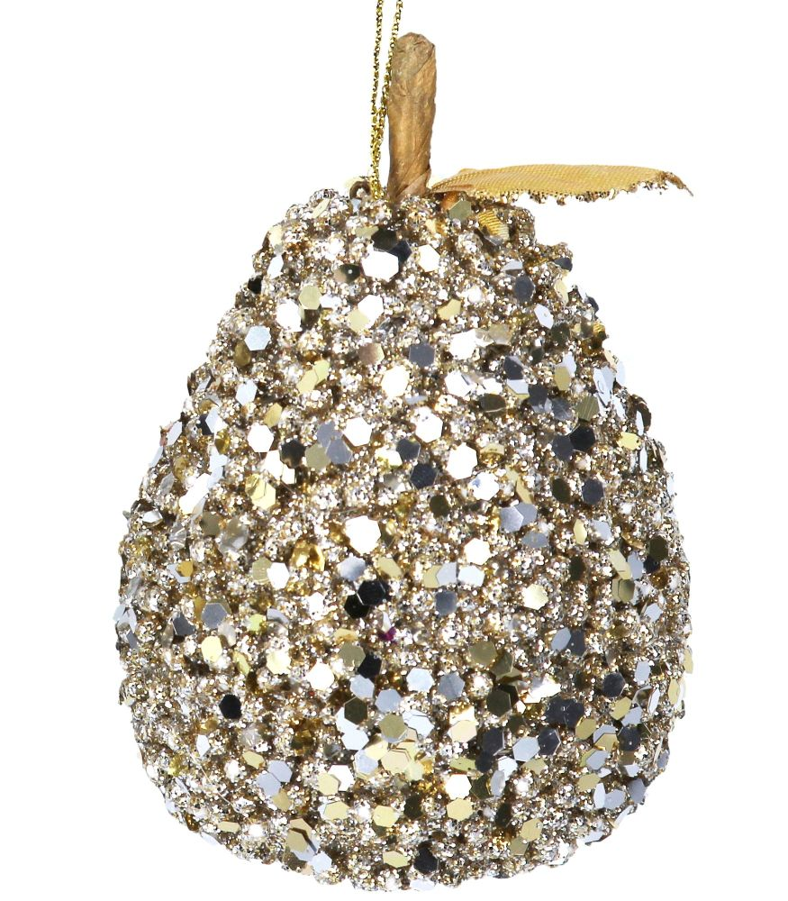 Gold Sequin Pear Bauble - 10cm tall x 7.5cm diameter