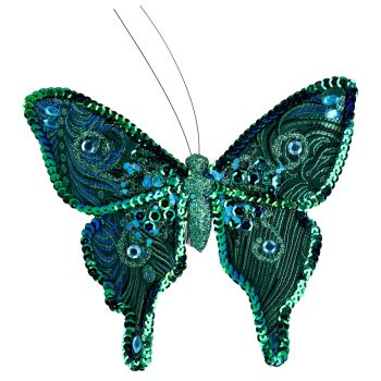 Blue Peacock coloured clip on Butterfly - 21cm tall x 13cm wide