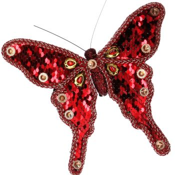 Red clip on Butterfly - 21cm tall x 13cm wide