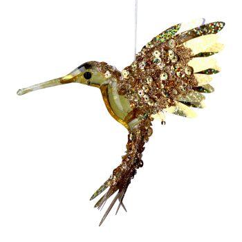 Gold Acrylic Hummingbird - 13.5cm tall x 8cm wide x 10cm deep