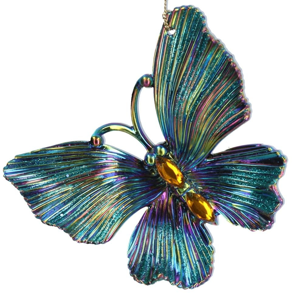 Blue Peacock coloured Butterfly Bauble - 9.5cm tall x 11cm wide