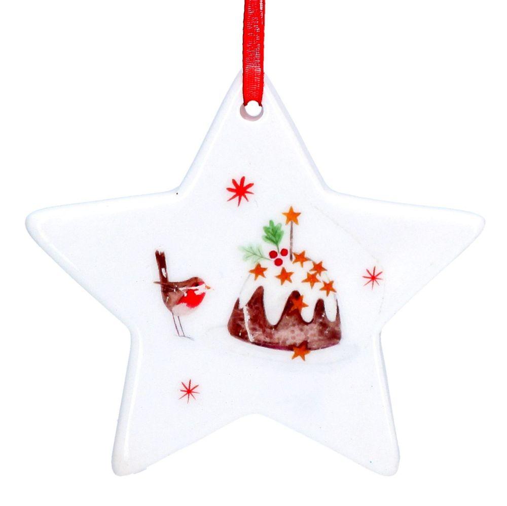 White Ceramic Christmas Pudding Star Bauble - 7.5cm x 7.5cm