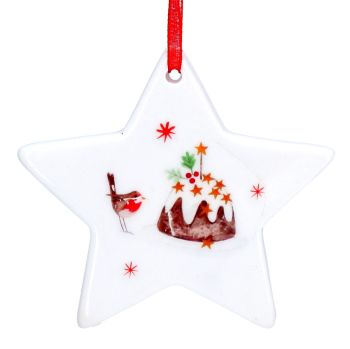 White Ceramic Christmas Pudding Star Bauble - 7.5cm x 7.5cm