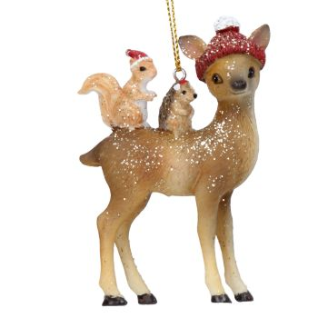 Reindeer & Friends Bauble - 8.5cm tall x 5.5cm wide x 2cm deep.