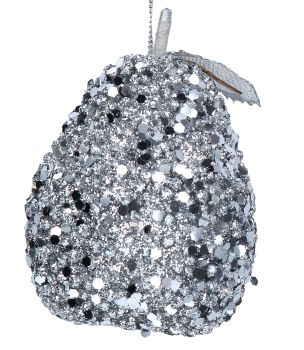 Silver Sequin Pear Bauble - 10cm tall x 7.5cm diameter