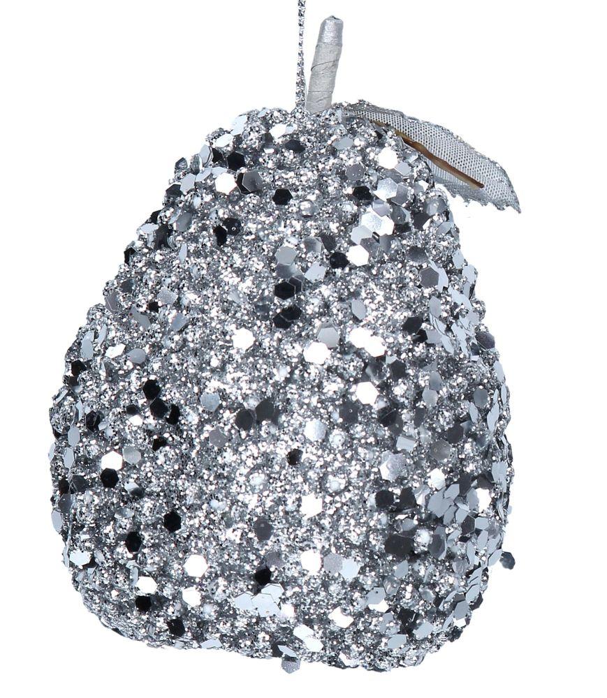 Silver Sequin Pear Bauble - 10cm tall x 7.5cm diameter