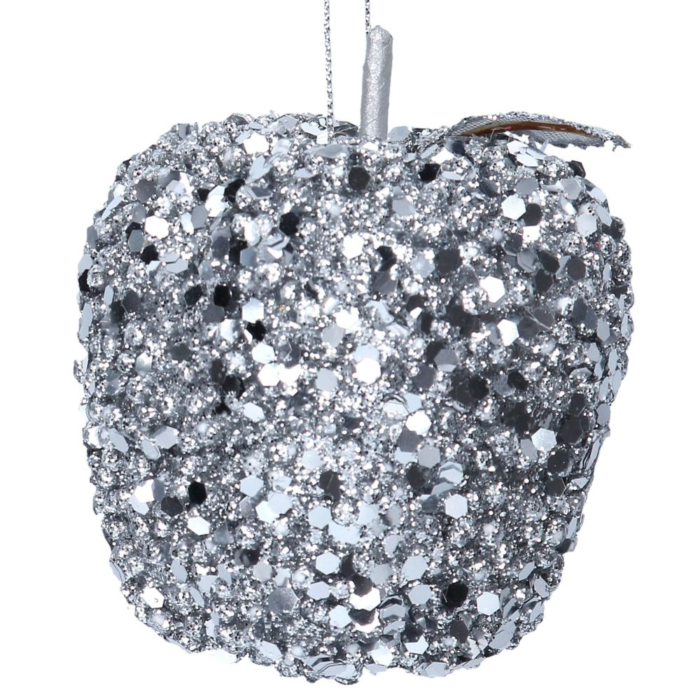 Silver Sequin Apple Bauble - 8cm tall x 8cm diameter