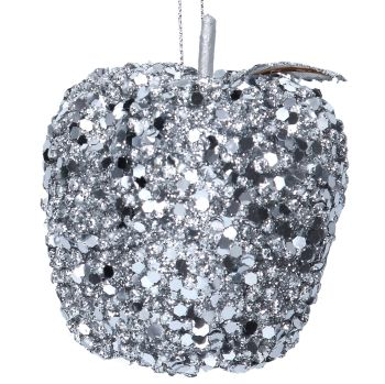 Silver Sequin Apple Bauble - 8cm tall x 8cm diameter