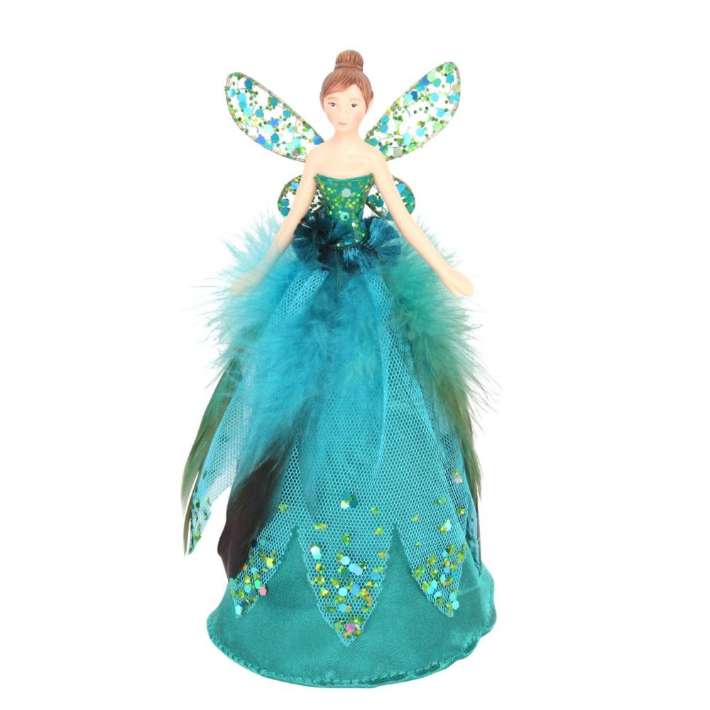 Peacock Coloured Tree Top Fairy - 18cm