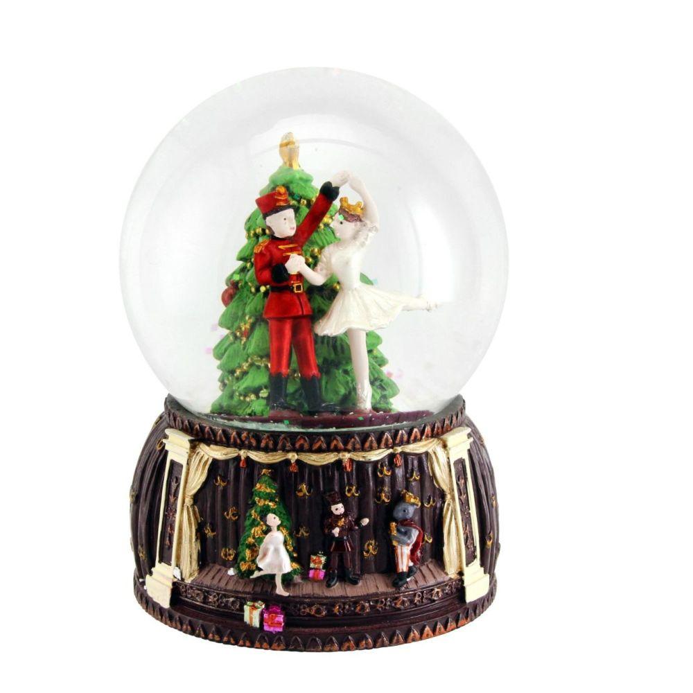 Nutcracker & Ballerina Snowglobe with wind up Musicbox  - 14cm x 9cm x 9cm