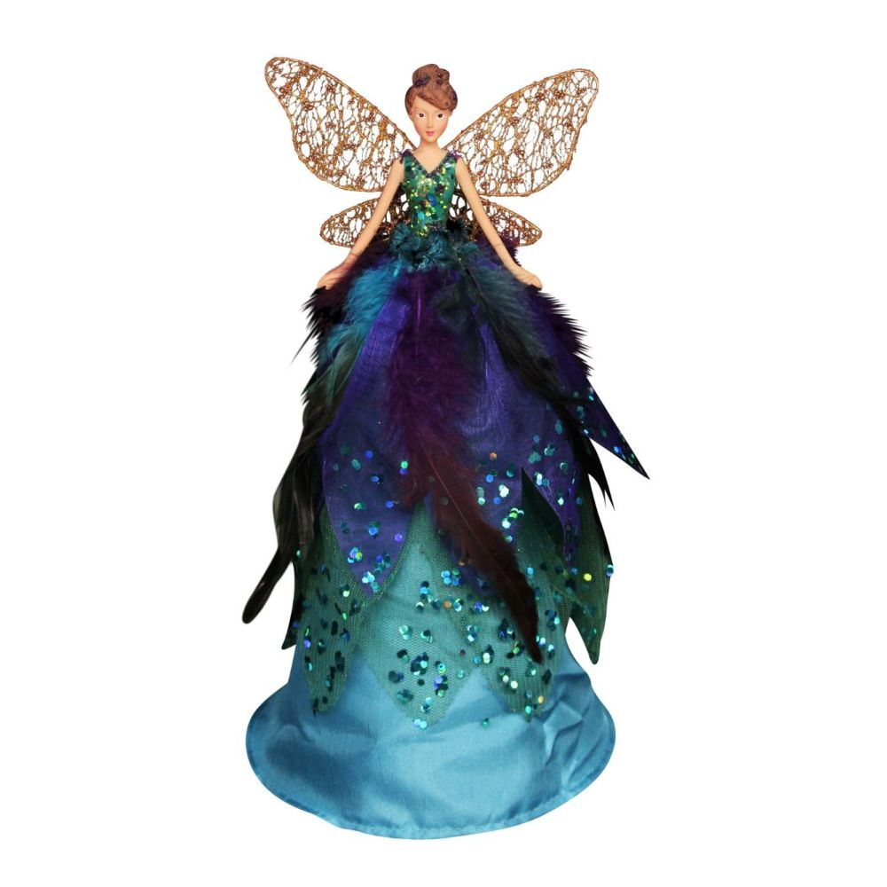 Large Peacock Coloured Tree Top Fairy - 29cm tall