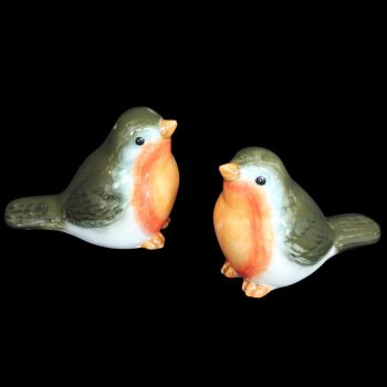 Ceramic Robin Salt & Pepper Set - 7cm tall x 7.5cm long x 5cm wide