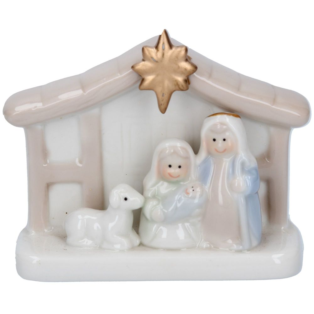 Ceramic Nativity Scene - 9.5cm wide x 8cm tall x 4cm deep