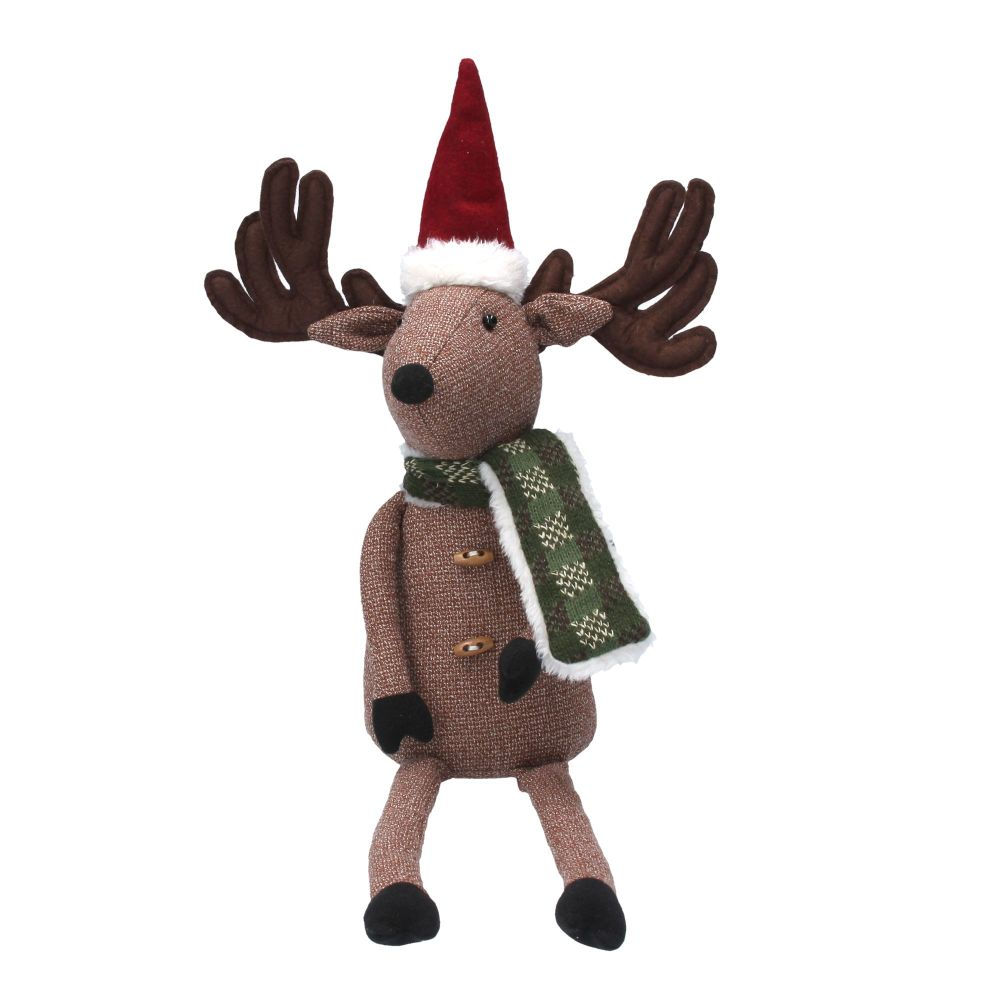 Nordic Winter Christmas Sitting Reindeer - 45cm tall x 25cm wide x 10cm dee