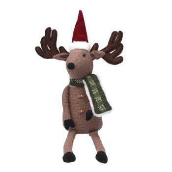 Nordic Winter Christmas Sitting Reindeer - 45cm tall x 25cm wide x 10cm deep.