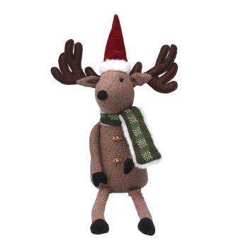 Nordic Winter Christmas Sitting Reindeer - 45cm tall x 25cm wide x 10cm deep.