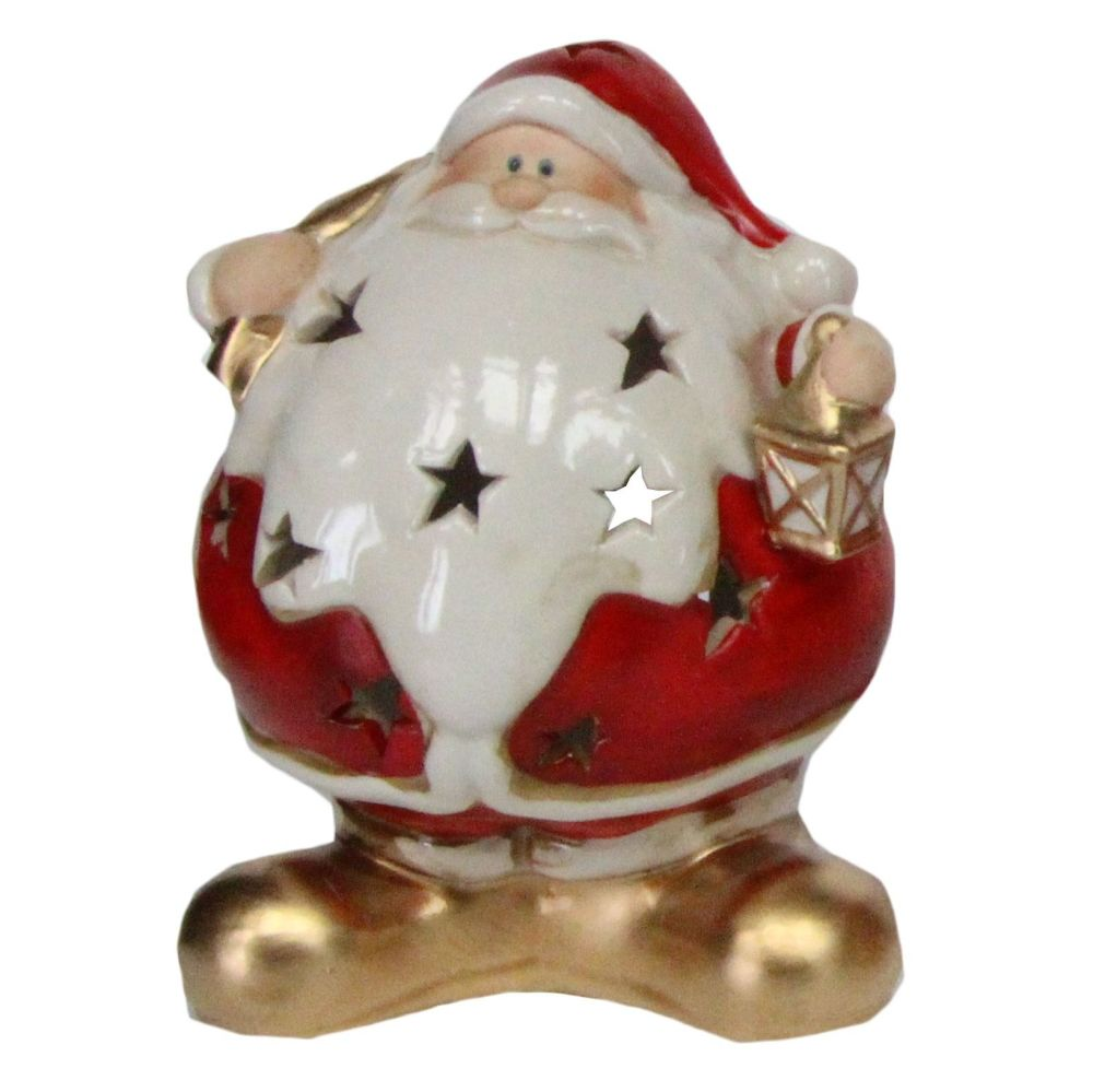 Ceramic T Light Candle Holder of Santa holding a Lantern - 16cm tall x 12cm