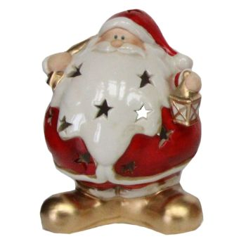 Ceramic T Light Candle Holder of Santa holding a Lantern - 16cm tall x 12cm wide x 10cm deep