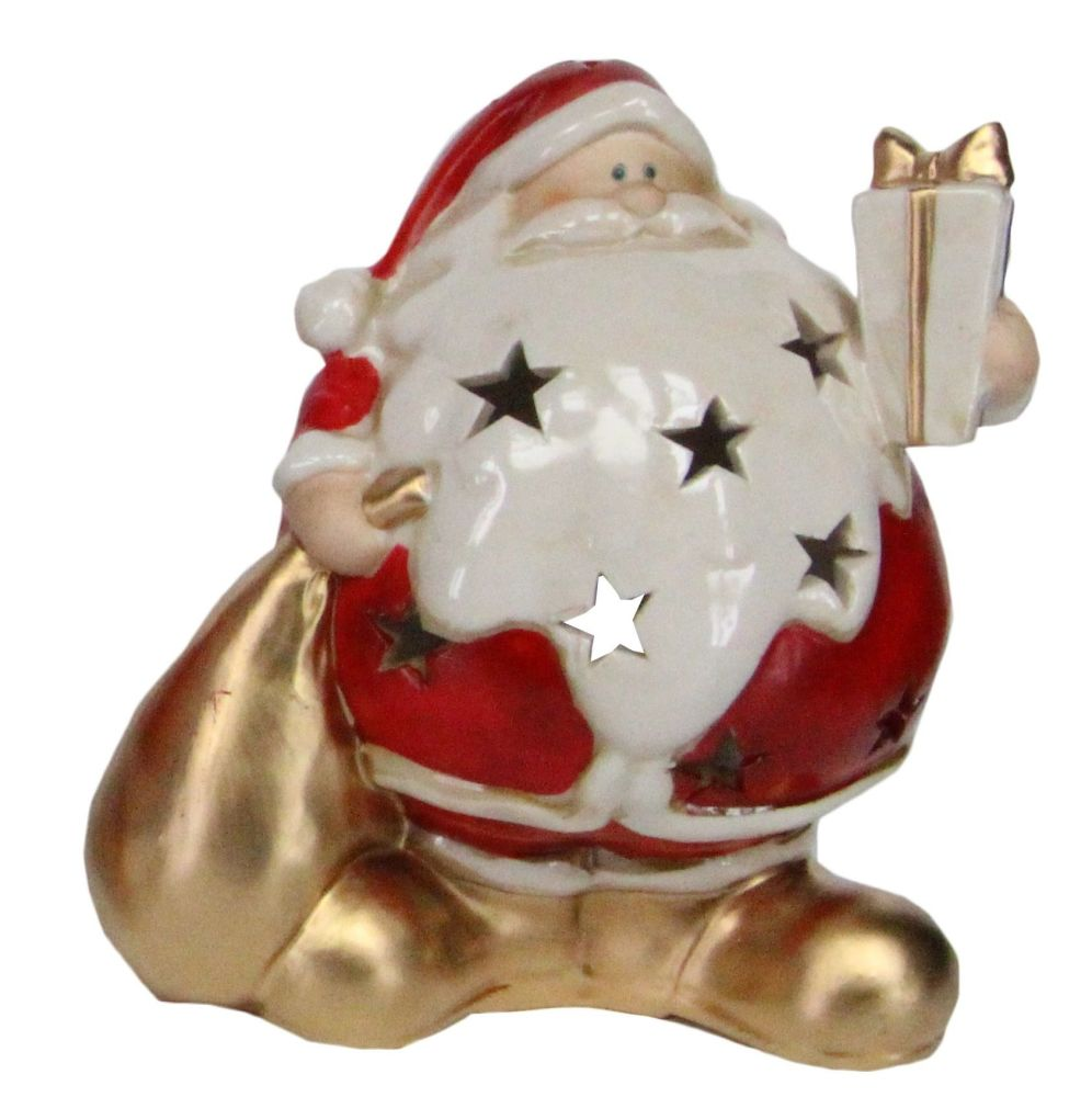 Ceramic T Light Candle Holder of Santa holding a Gift - 16cm tall x 12cm wi
