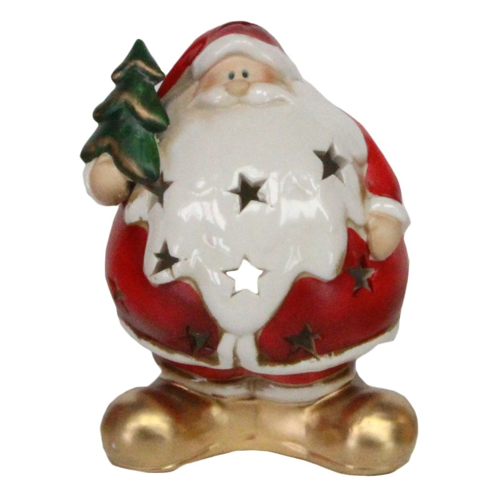 Ceramic T Light Candle Holder of Santa holding a Christmas Tree - 16cm tall