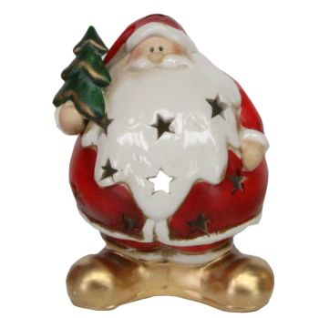 Ceramic T Light Candle Holder of Santa holding a Christmas Tree - 16cm tall x 12cm wide x 10cm deep
