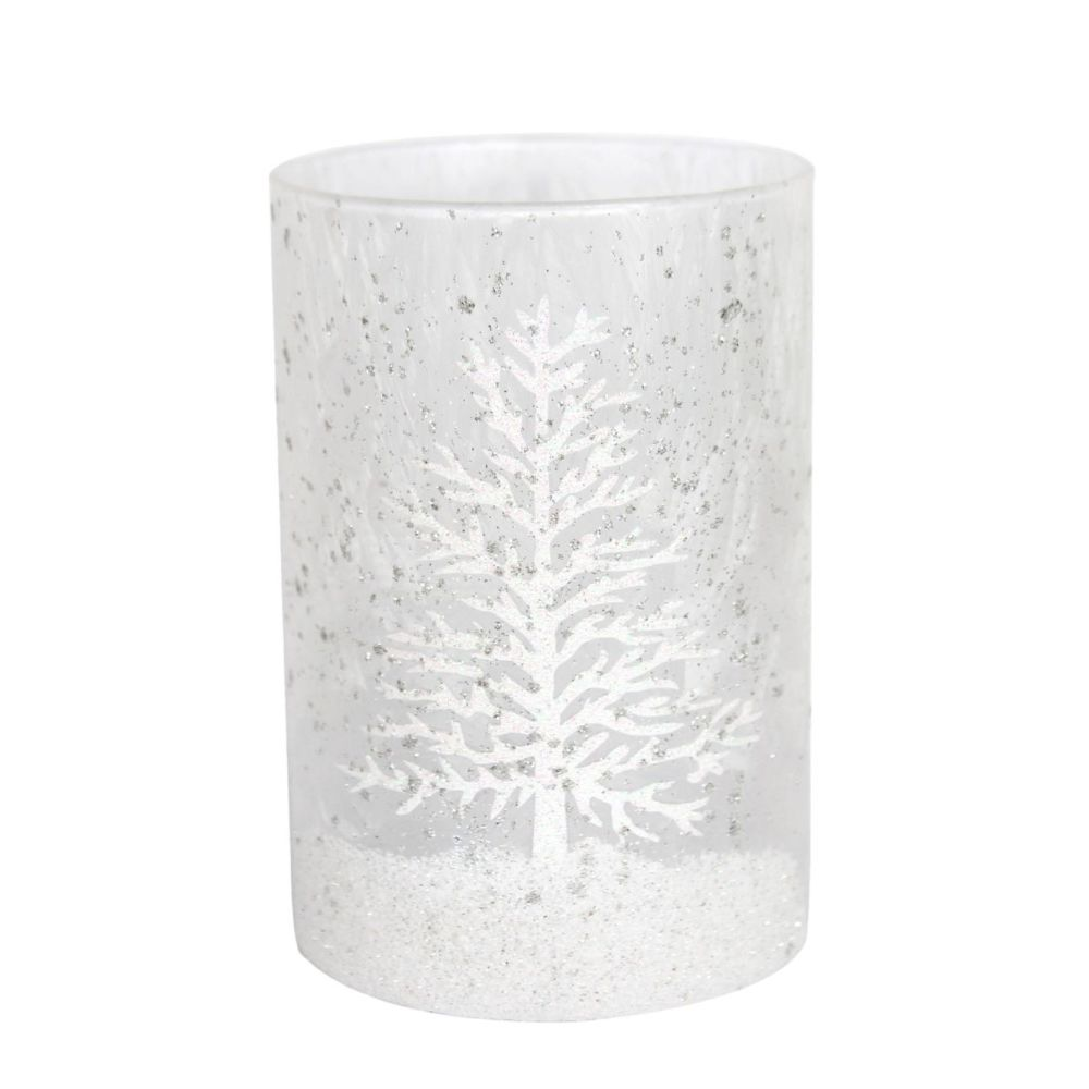 Frosted Glass Candle Holder with white Christmas Tree design - 14cm tall x