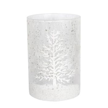 Frosted Glass Candle Holder with white Christmas Tree design - 14cm tall x 8.5cm diameter