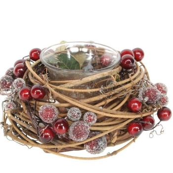 Rustic Woodland Berry Candle Holder with glass T-lite holder - 8cm tall x 12cm diameter