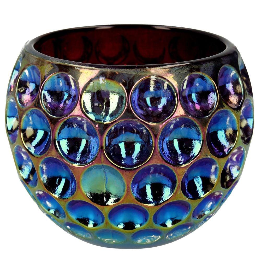 Glass Petrol Blue Candle Holder - 9.5cm tall x 11cm diameter