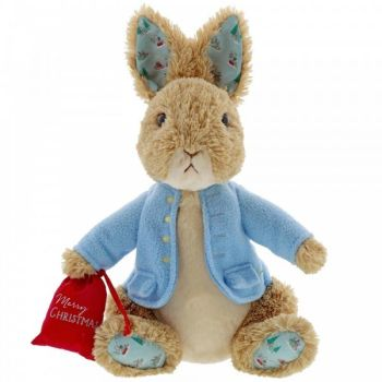 Medium Christmas Peter Rabbit Plush Toy with Christmas Sack - Height 28cm x 20cm wide x 17cm deep