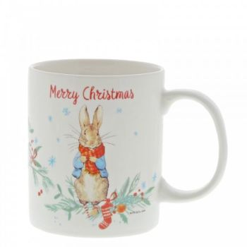 Gorgeous Ceramic Peter Rabbit Christmas Mug in a presentation box - Height 9.5cm x 9cm diameter.