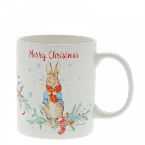 Gorgeous Ceramic Peter Rabbit Christmas Mug in a presentation box - Height