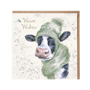 'Moo-rry Christmas' Cow Christmas Card - 15cm x 15cm