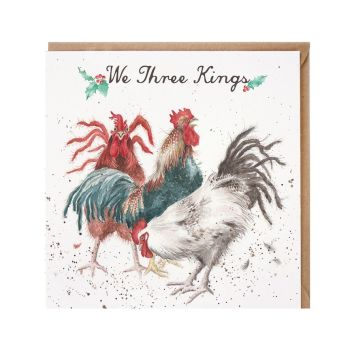 'We Three Kings' Cockerel Christmas Card - 15cm x 15cm