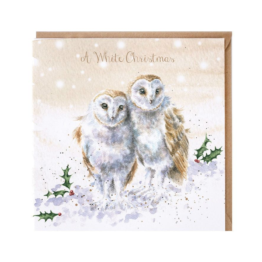 'A White Christmas' Barn Owl Christmas Card - 15cm x 15cm