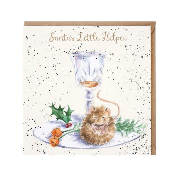 'Santa's Little Helper' Mouse Christmas Card - 15cm x 15cm