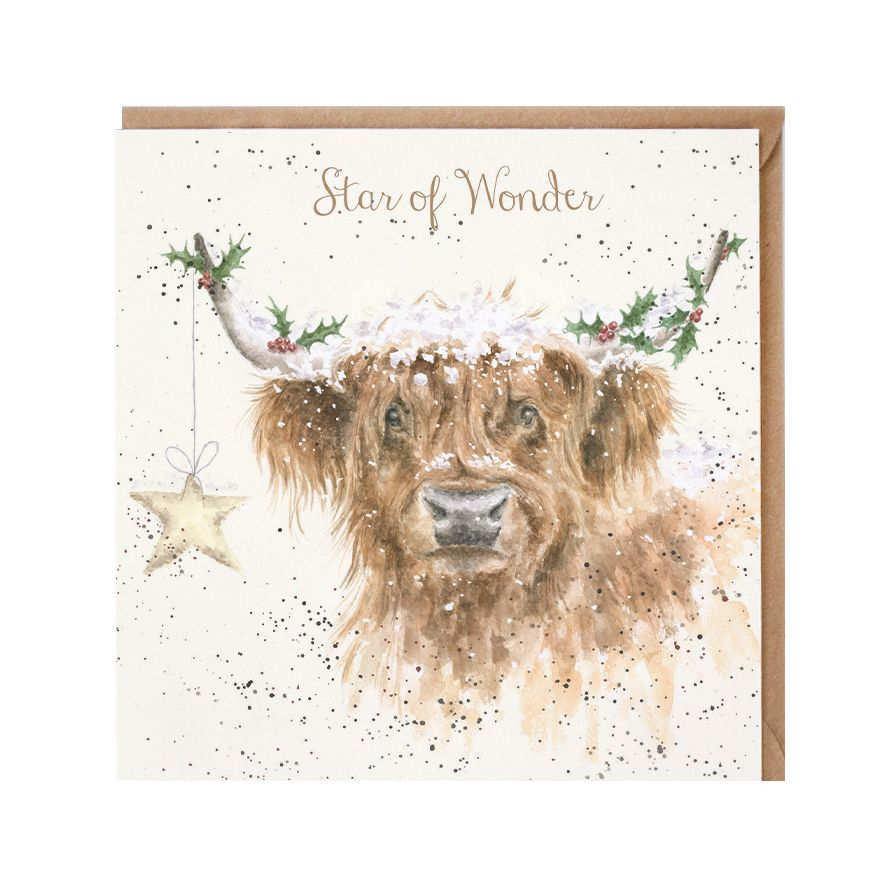 'Highland Star' Cattle Christmas Card - 15cm x 15cm