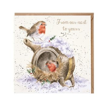 'From our nest to yours' Robin & Teapot Christmas Card - 15cm x 15cm