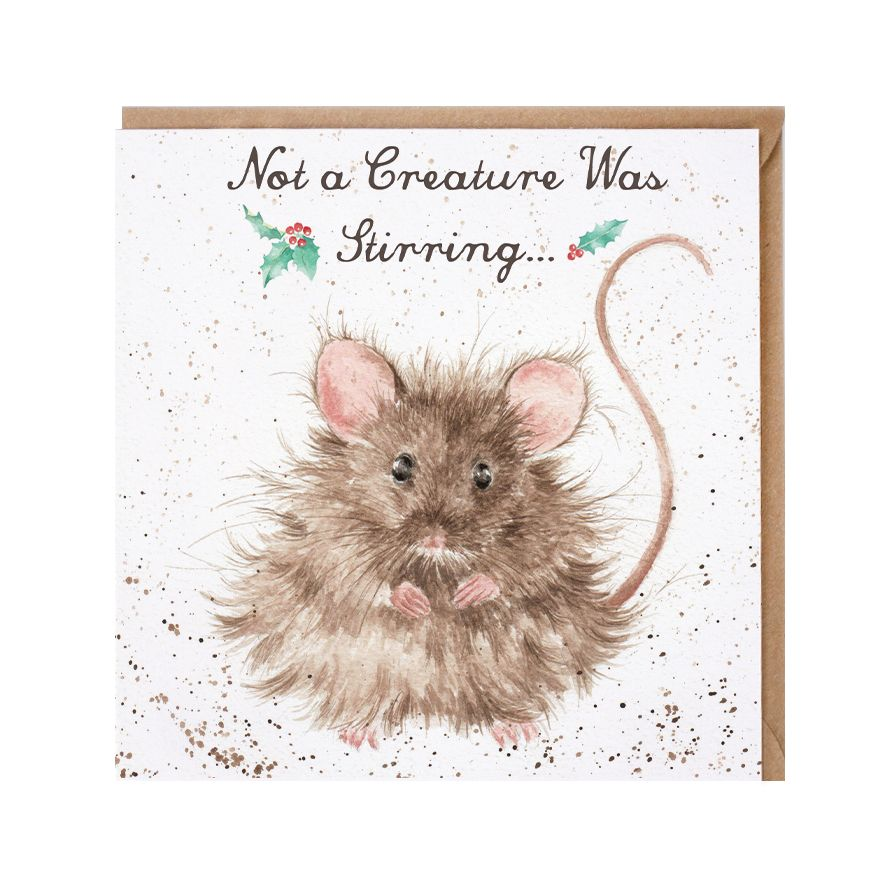 'Not a Creature Was Stirring' Mouse Christmas Card - 15cm x 15cm