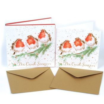Robins 'The Carol Singers' Pack of 8 luxury gold foiled cards and envelopes - 12cm x 12cm