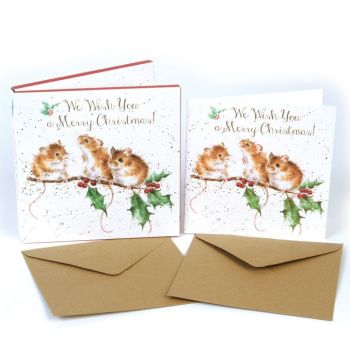 'Christmas Mice' Pack of 8 luxury gold foiled cards and envelopes - 12cm x 12cm