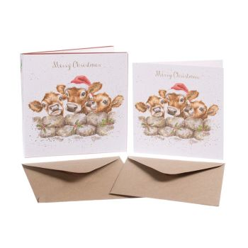 'Christmas Calves' Pack of 8 luxury gold foiled cards and envelopes - 12cm x 12cm