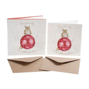 'Christmouse' Pack of 8 luxury gold foiled cards and envelopes - 12cm x 12cm