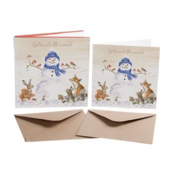 'Snowman & Friends' Pack of 8 luxury gold foiled cards and envelopes - 12cm x 12cm