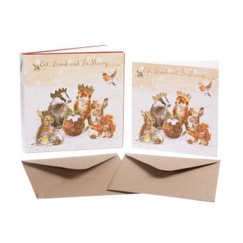 'The Christmas Party' Pack of 8 luxury gold foiled cards and envelopes - 12cm x 12cm