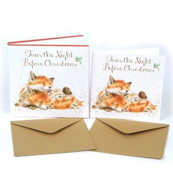 Fox Cubs 'Twas the Night Before Christmas' Pack of 8 luxury gold foiled cards and envelopes - 12cm x 12cm
