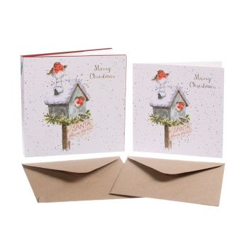 Robin 'Santa Please Stop Here' Pack of 8 luxury gold foiled cards and envelopes - 12cm x 12cm